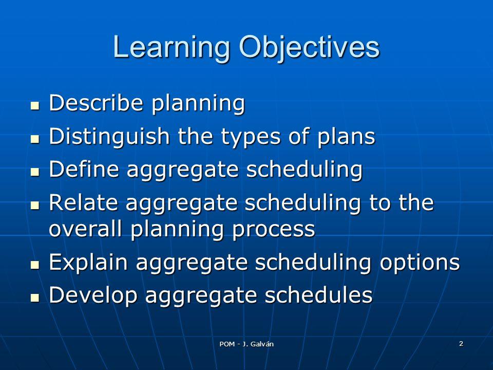 POM - J. Galván 2 Learning Objectives Describe planning Describe planning Distinguish the types of plans Distinguish the types of plans Define aggrega