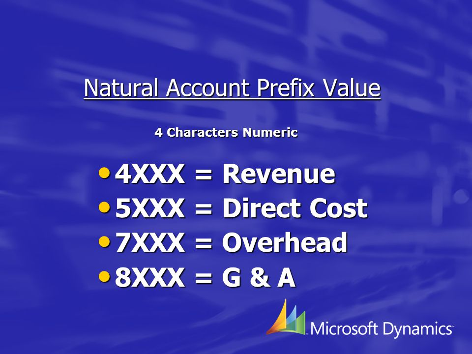 Natural Account Prefix Value 4XXX = Revenue 4XXX = Revenue 5XXX = Direct Cost 5XXX = Direct Cost 7XXX = Overhead 7XXX = Overhead 8XXX = G & A 8XXX = G & A 4 Characters Numeric