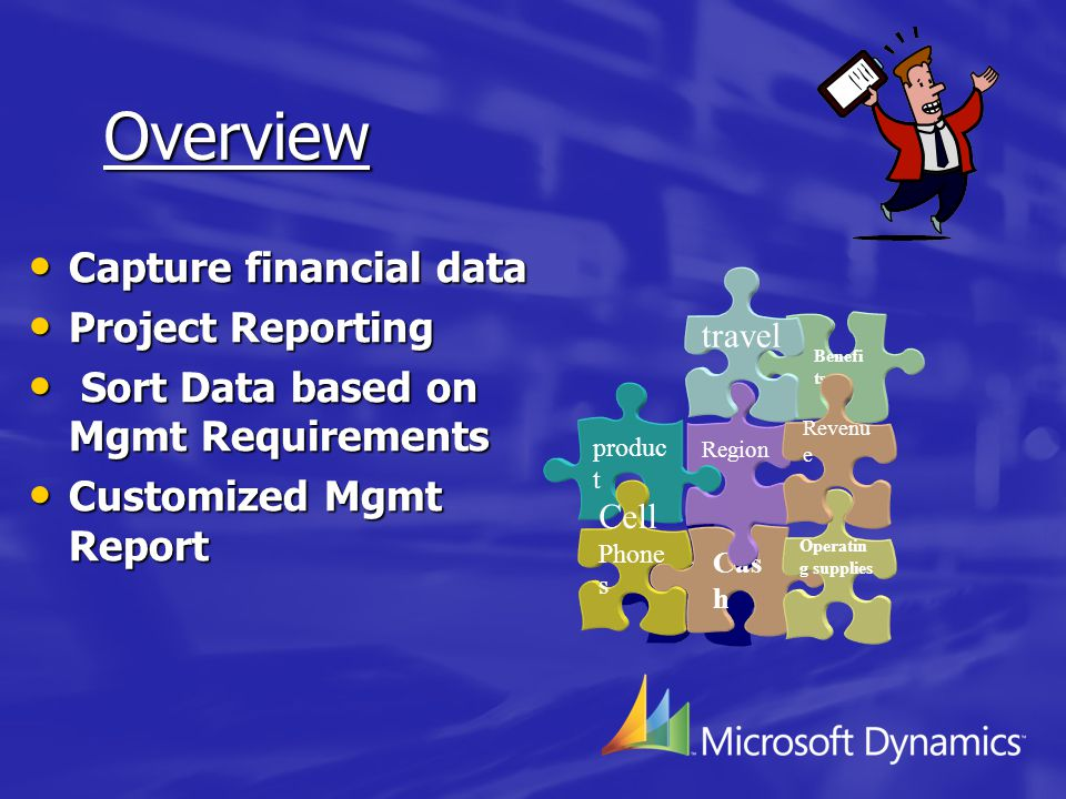 Overview Capture financial data Capture financial data Project Reporting Project Reporting Sort Data based on Mgmt Requirements Sort Data based on Mgmt Requirements Customized Mgmt Report Customized Mgmt Report Departmen t Cas h Operatin g supplies Region produc t Cell Phone s Benefi ts Revenu e travel