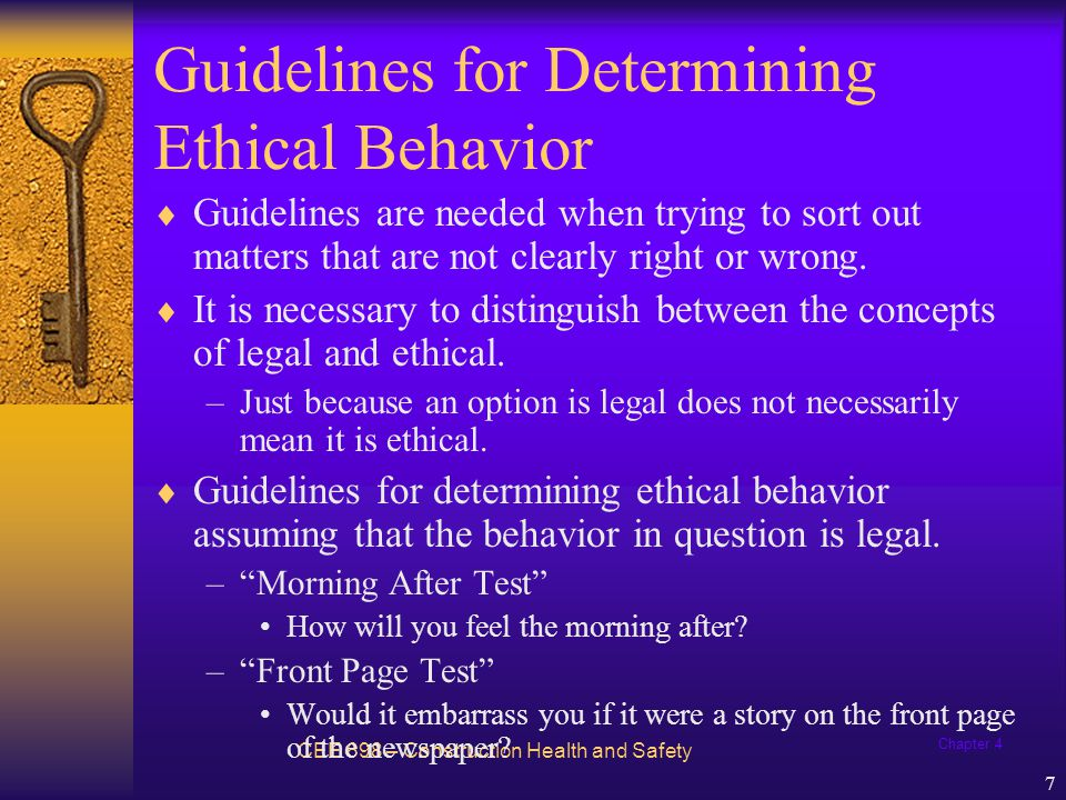Chapter 4 8 Guidelines for Determining Ethical Behavior –Mirror Test How will you feel about yourself when you look in the mirror.