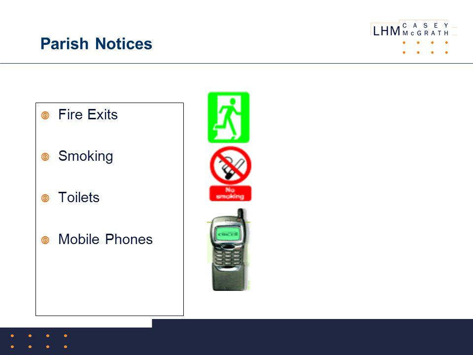 Parish Notices  Fire Exits  Smoking  Toilets  Mobile Phones