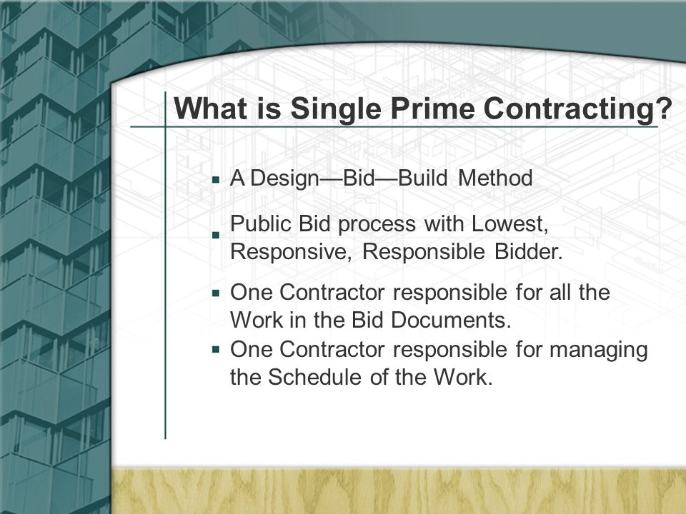 What is Single Prime Contracting.