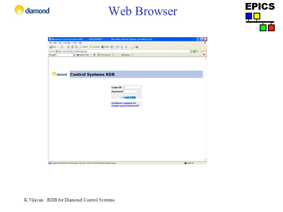 K.Vijayan : RDB for Diamond Control Systems Web Browser