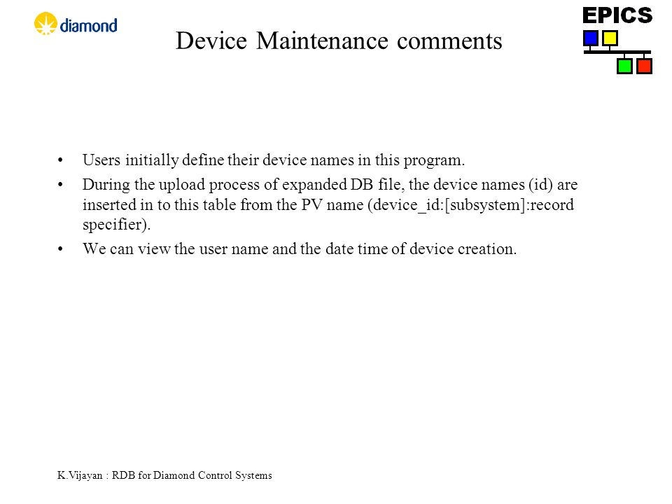 K.Vijayan : RDB for Diamond Control Systems Device Maintenance comments Users initially define their device names in this program.