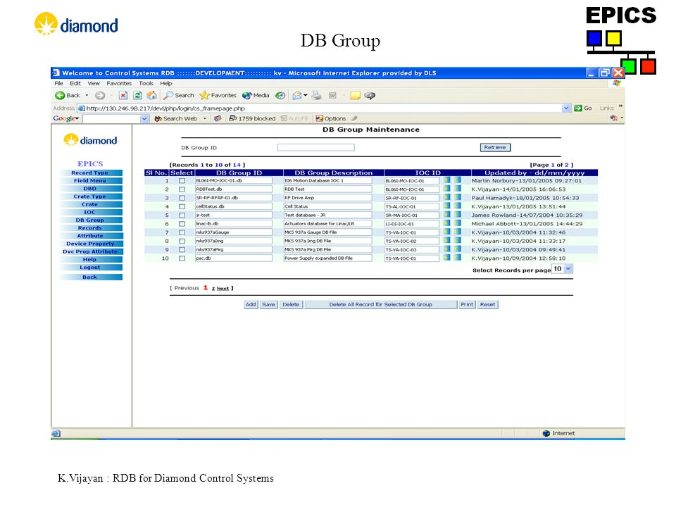 K.Vijayan : RDB for Diamond Control Systems DB Group