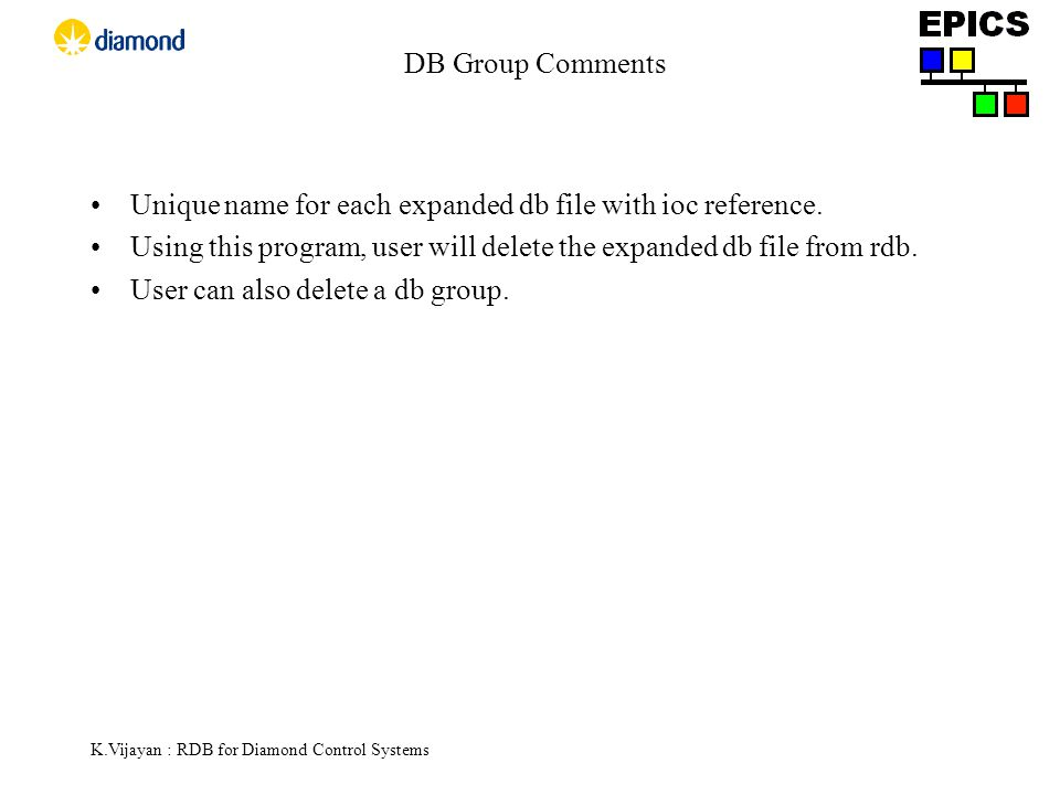K.Vijayan : RDB for Diamond Control Systems DB Group Comments Unique name for each expanded db file with ioc reference.