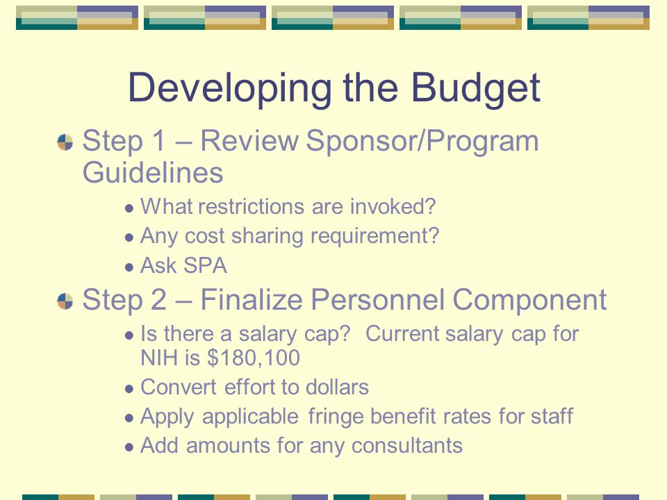 Developing the Budget Step 1 – Review Sponsor/Program Guidelines What restrictions are invoked.