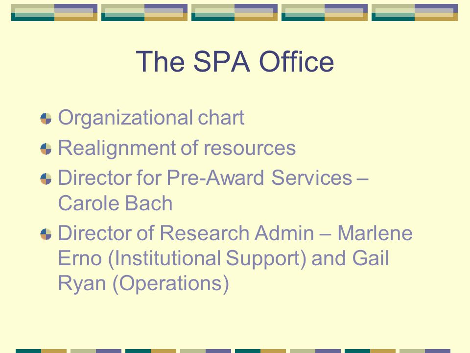 The SPA Office Organizational chart Realignment of resources Director for Pre-Award Services – Carole Bach Director of Research Admin – Marlene Erno (Institutional Support) and Gail Ryan (Operations)