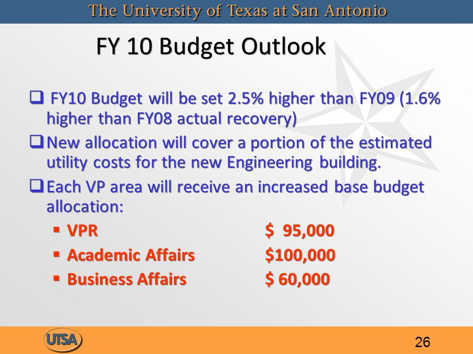 FY 10 Budget Outlook   FY10 Budget will be set 2.5% higher than FY09 (1.6% higher than FY08 actual recovery)   New allocation will cover a portion of the estimated utility costs for the new Engineering building.