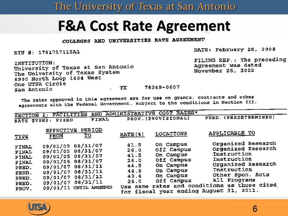 F&A Cost Rate Agreement 6
