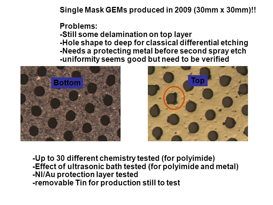 Bottom Single Mask GEMs produced in 2009 (30mm x 30mm)!.