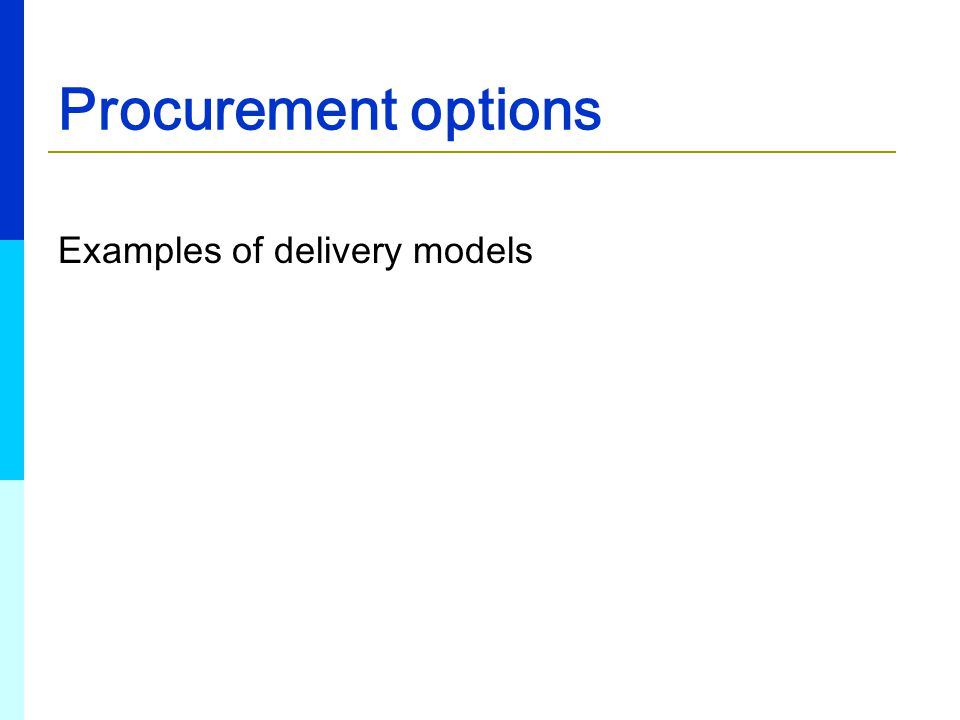 Procurement options Examples of delivery models