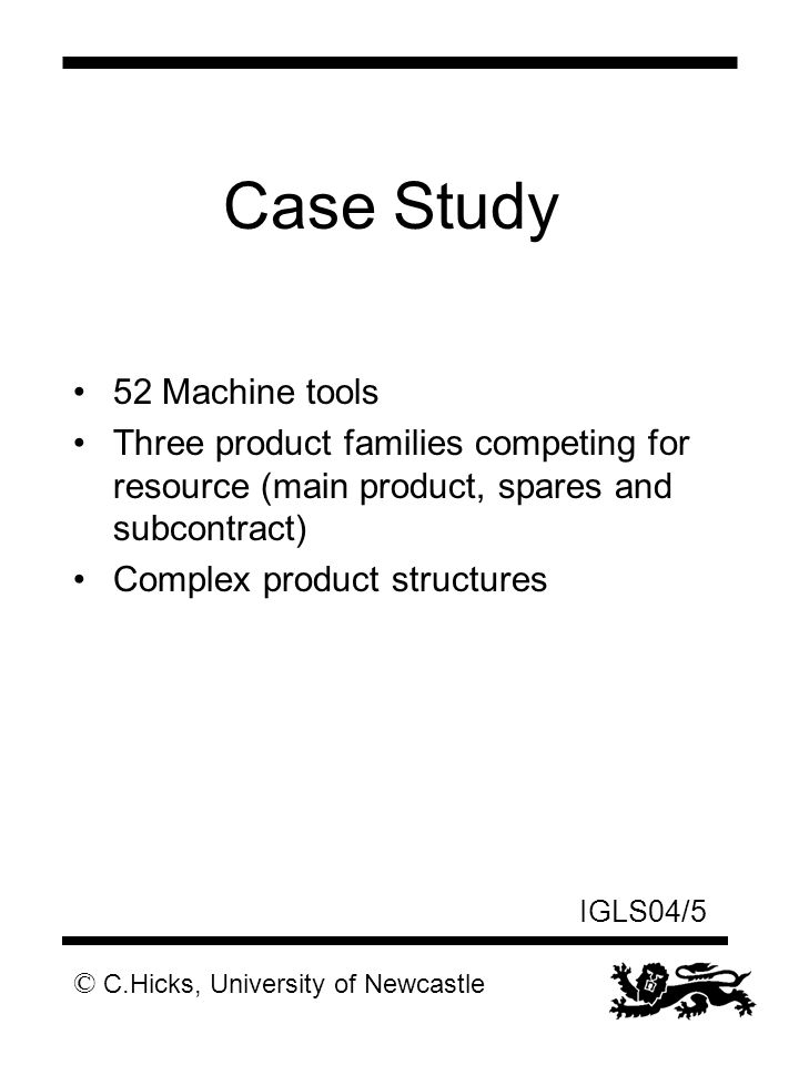 © C.Hicks, University of Newcastle IGLS04/5 Case Study 52 Machine tools Three product families competing for resource (main product, spares and subcontract) Complex product structures