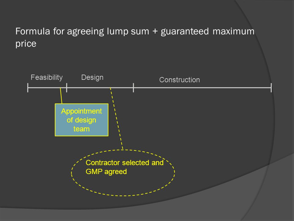 Formula for agreeing lump sum + guaranteed maximum price FeasibilityDesign Construction Appointment of design team Contractor selected and GMP agreed