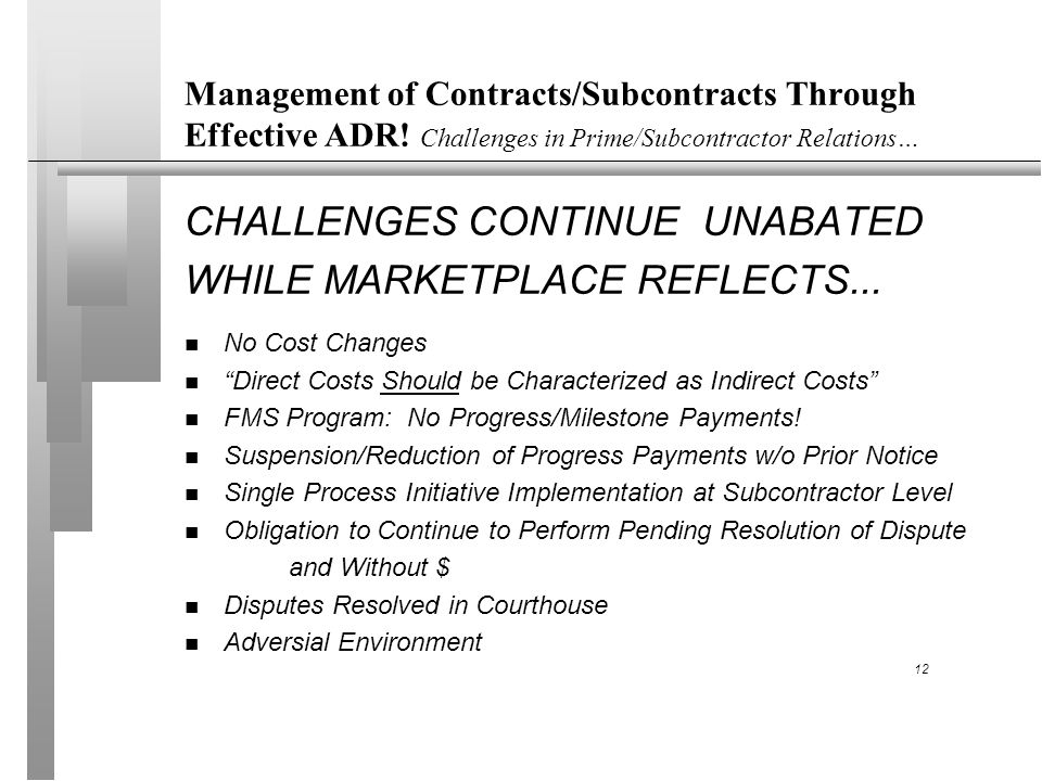 Management of Contracts/Subcontracts Through Effective ADR.