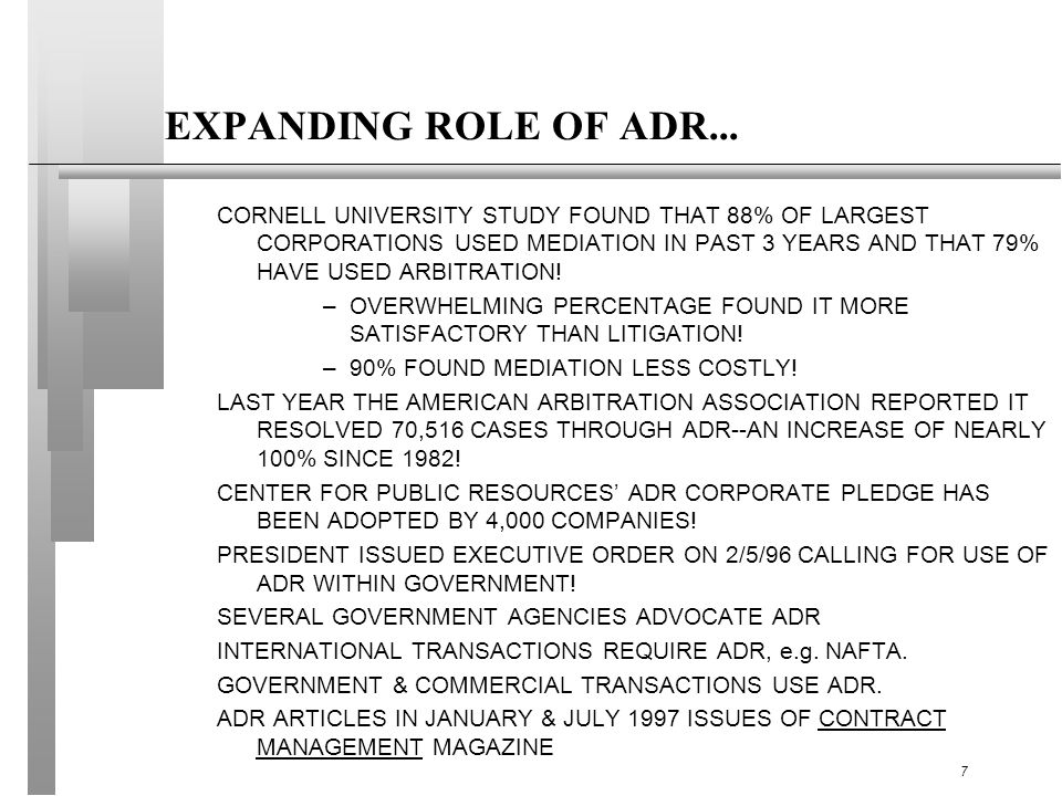 EXPANDING ROLE OF ADR...