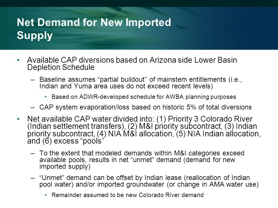 Net Demand for New Imported Supply Available CAP diversions based on Arizona side Lower Basin Depletion Schedule –Baseline assumes partial buildout of mainstem entitlements (i.e., Indian and Yuma area uses do not exceed recent levels) Based on ADWR-developed schedule for AWBA planning purposes –CAP system evaporation/loss based on historic 5% of total diversions Net available CAP water divided into: (1) Priority 3 Colorado River (Indian settlement transfers), (2) M&I priority subcontract, (3) Indian priority subcontract, (4) NIA M&I allocation, (5) NIA Indian allocation, and (6) excess pools –To the extent that modeled demands within M&I categories exceed available pools, results in net unmet demand (demand for new imported supply) – Unmet demand can be offset by Indian lease (reallocation of Indian pool water) and/or imported groundwater (or change in AMA water use) Remainder assumed to be new Colorado River demand