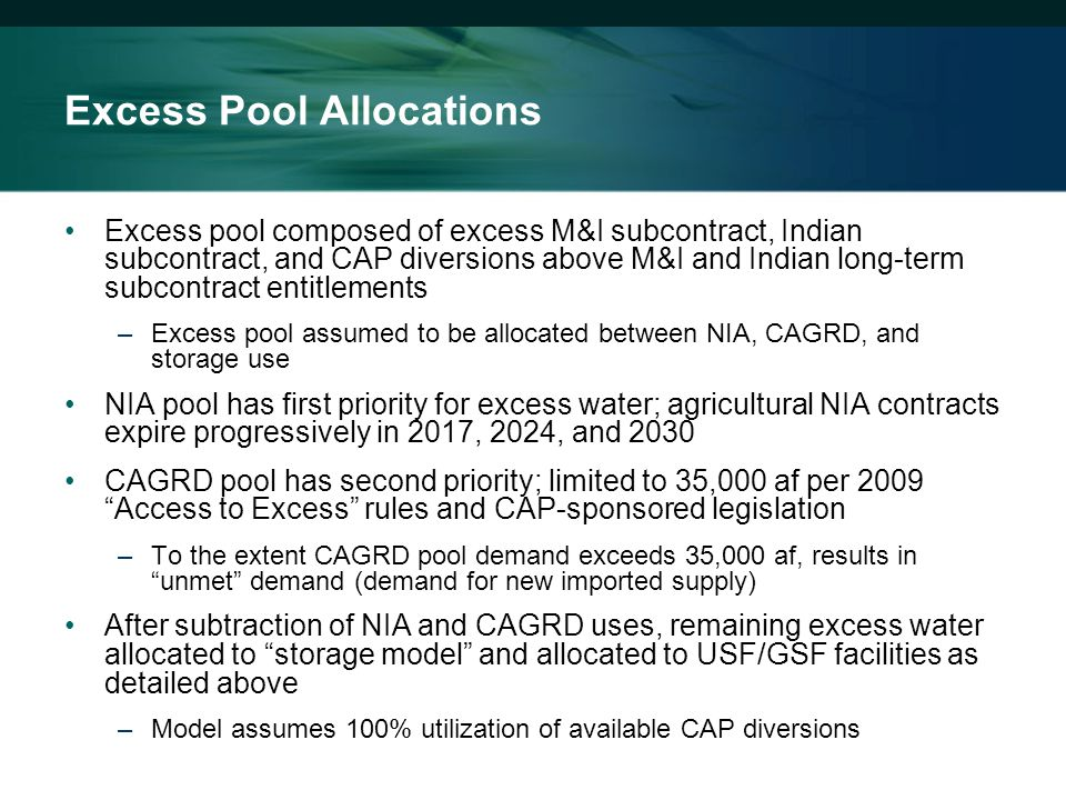 Excess Pool Allocations Excess pool composed of excess M&I subcontract, Indian subcontract, and CAP diversions above M&I and Indian long-term subcontract entitlements –Excess pool assumed to be allocated between NIA, CAGRD, and storage use NIA pool has first priority for excess water; agricultural NIA contracts expire progressively in 2017, 2024, and 2030 CAGRD pool has second priority; limited to 35,000 af per 2009 Access to Excess rules and CAP-sponsored legislation –To the extent CAGRD pool demand exceeds 35,000 af, results in unmet demand (demand for new imported supply) After subtraction of NIA and CAGRD uses, remaining excess water allocated to storage model and allocated to USF/GSF facilities as detailed above –Model assumes 100% utilization of available CAP diversions