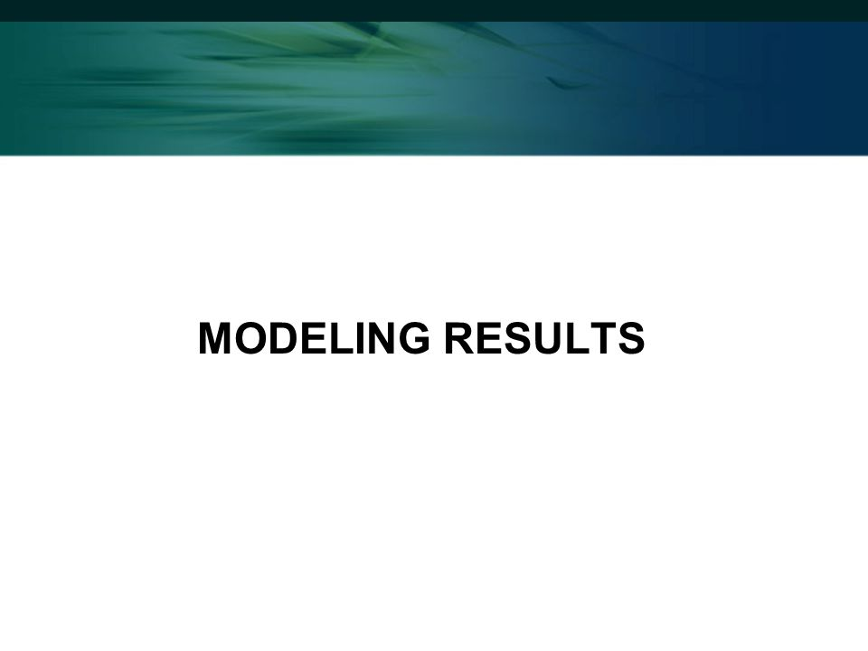 MODELING RESULTS