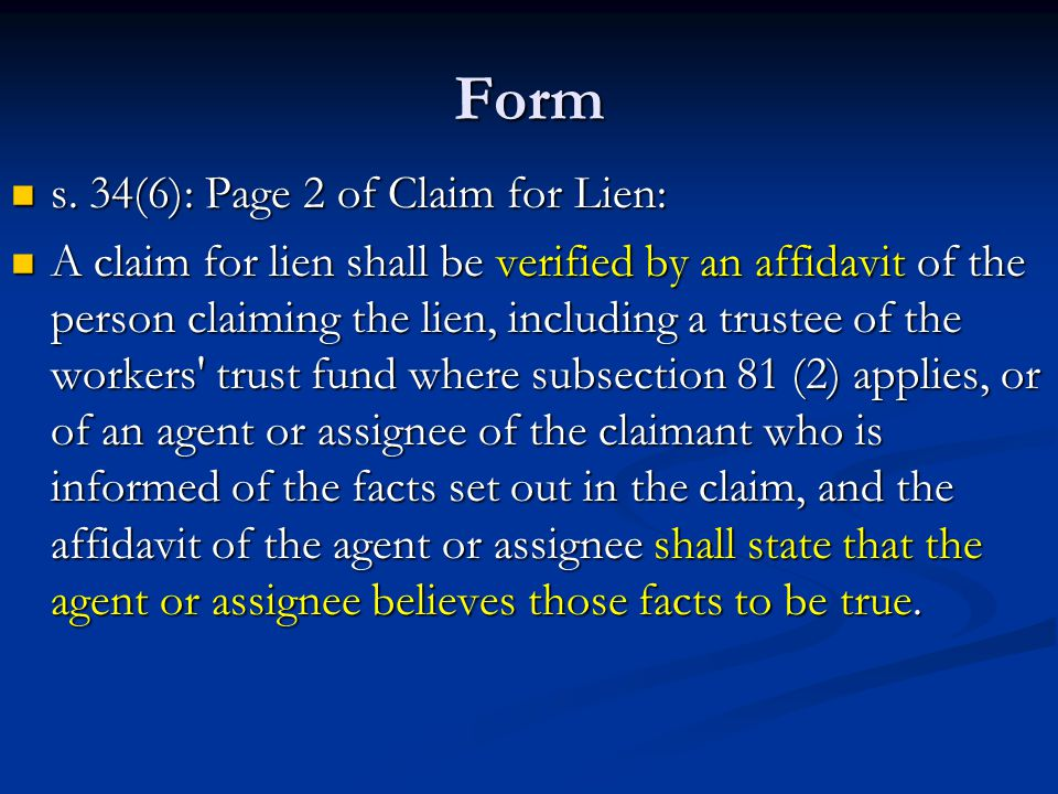 Form s. 34(6): Page 2 of Claim for Lien: s.