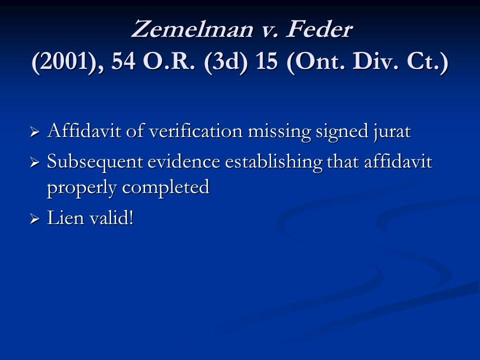 Zemelman v. Feder (2001), 54 O.R. (3d) 15 (Ont. Div.