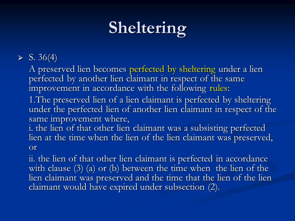 Sheltering  S.
