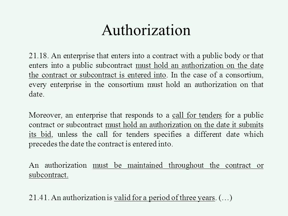 Authorization 21.18.