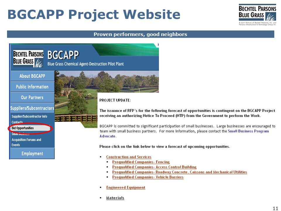 Proven performers, good neighbors 11 BGCAPP Project Website