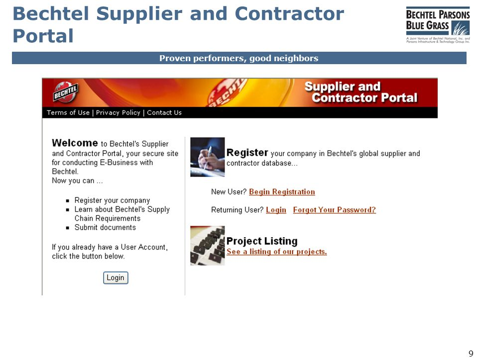 Proven performers, good neighbors 9 Bechtel Supplier and Contractor Portal