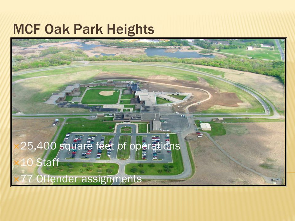 MCF Oak Park Heights  25,400 square feet of operations  10 Staff  77 Offender assignments