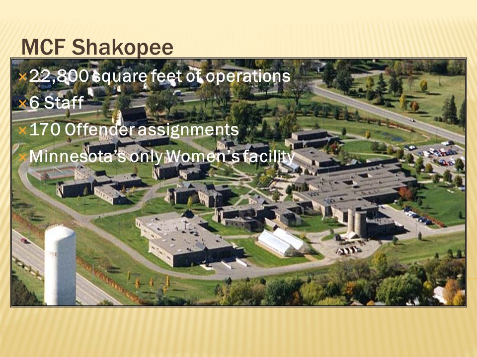 MCF Shakopee  22,800 square feet of operations  6 Staff  170 Offender assignments  Minnesota's only Women's facility