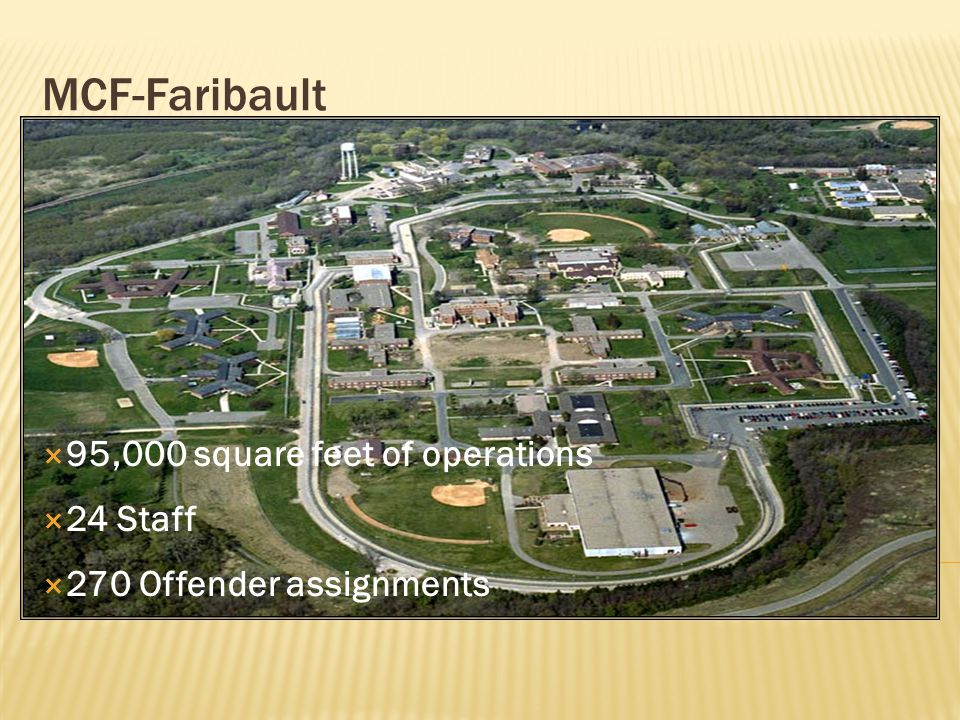 MCF-Faribault  95,000 square feet of operations  24 Staff  270 Offender assignments