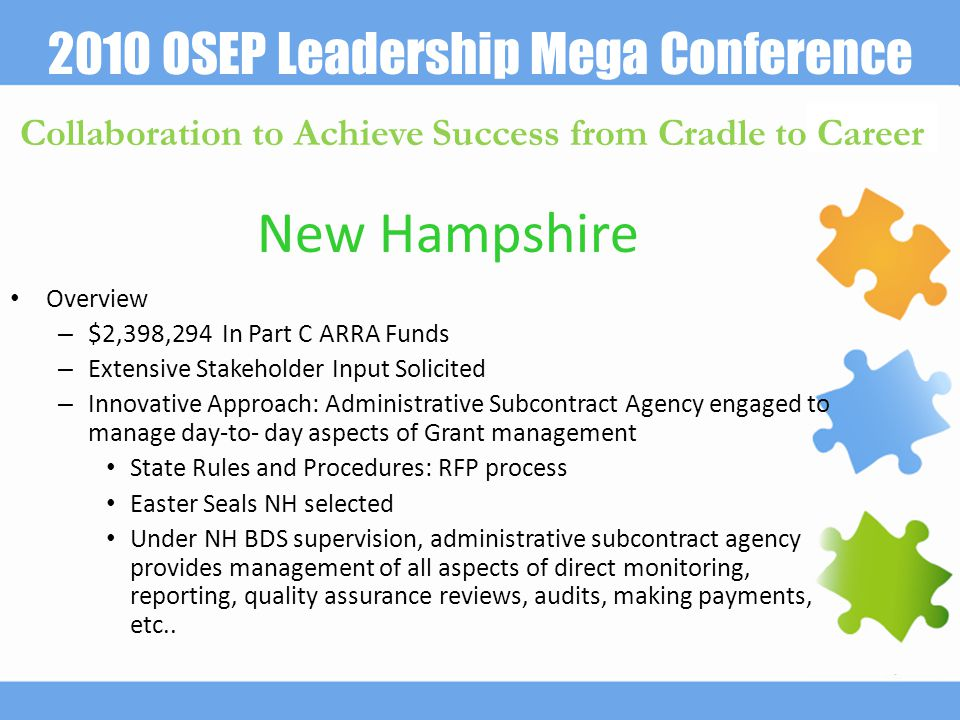 2010 OSEP Leadership Mega Conference Collaboration to Achieve Success from Cradle to Career New Hampshire Overview – $2,398,294 In Part C ARRA Funds – Extensive Stakeholder Input Solicited – Innovative Approach: Administrative Subcontract Agency engaged to manage day-to- day aspects of Grant management State Rules and Procedures: RFP process Easter Seals NH selected Under NH BDS supervision, administrative subcontract agency provides management of all aspects of direct monitoring, reporting, quality assurance reviews, audits, making payments, etc..