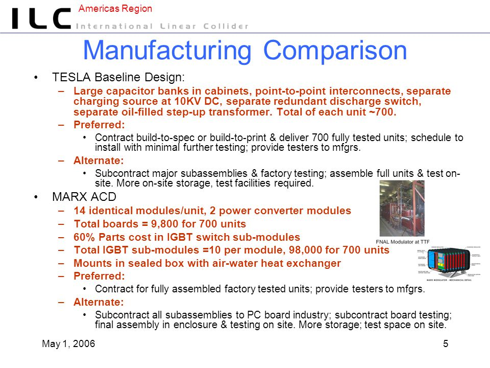 Americas Region May 1, 20065 Manufacturing Comparison TESLA Baseline Design: –Large capacitor banks in cabinets, point-to-point interconnects, separate charging source at 10KV DC, separate redundant discharge switch, separate oil-filled step-up transformer.