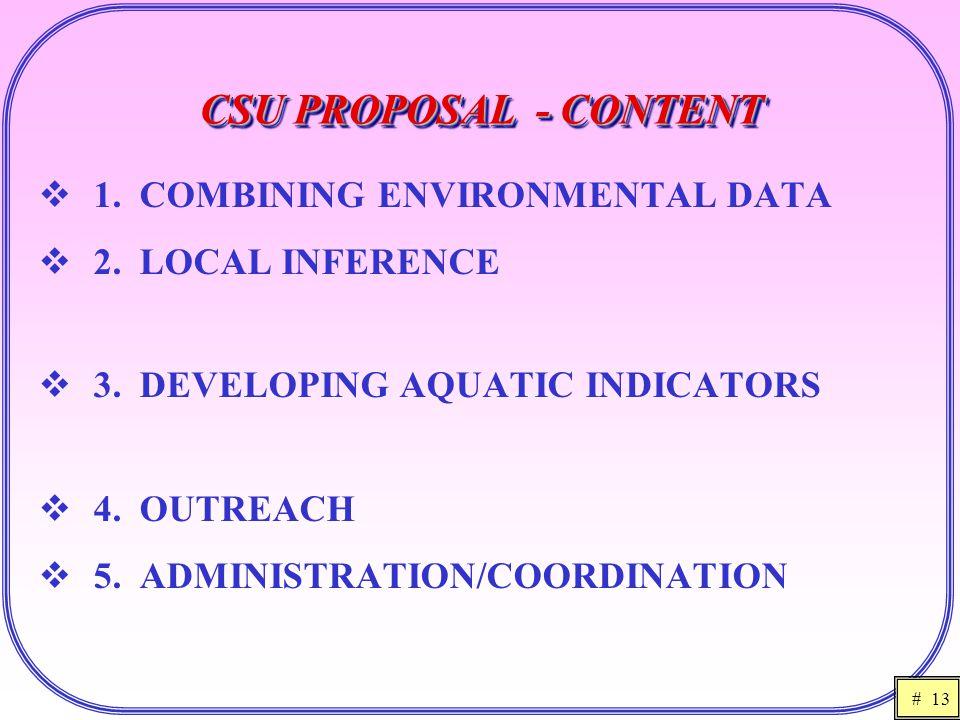 # 13 CSU PROPOSAL - CONTENT  1. COMBINING ENVIRONMENTAL DATA  2.