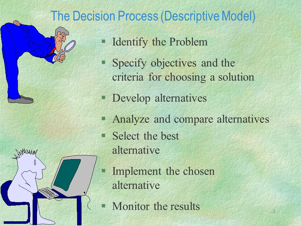 3 The Decision Process (Descriptive Model) §Identify the Problem §Specify objectives and the criteria for choosing a solution §Develop alternatives §A