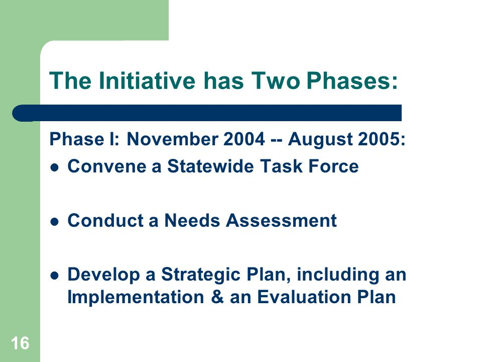 16 The Initiative has Two Phases: Phase I: November 2004 -- August 2005: Convene a Statewide Task Force Conduct a Needs Assessment Develop a Strategic Plan, including an Implementation & an Evaluation Plan