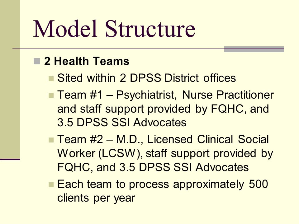 Model Structure 2 Health Teams Sited within 2 DPSS District offices Team #1 – Psychiatrist, Nurse Practitioner and staff support provided by FQHC, and 3.5 DPSS SSI Advocates Team #2 – M.D., Licensed Clinical Social Worker (LCSW), staff support provided by FQHC, and 3.5 DPSS SSI Advocates Each team to process approximately 500 clients per year
