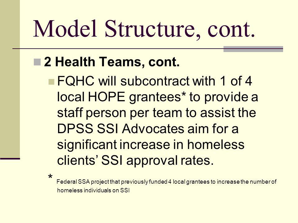 Model Structure, cont.2 Health Teams, cont.