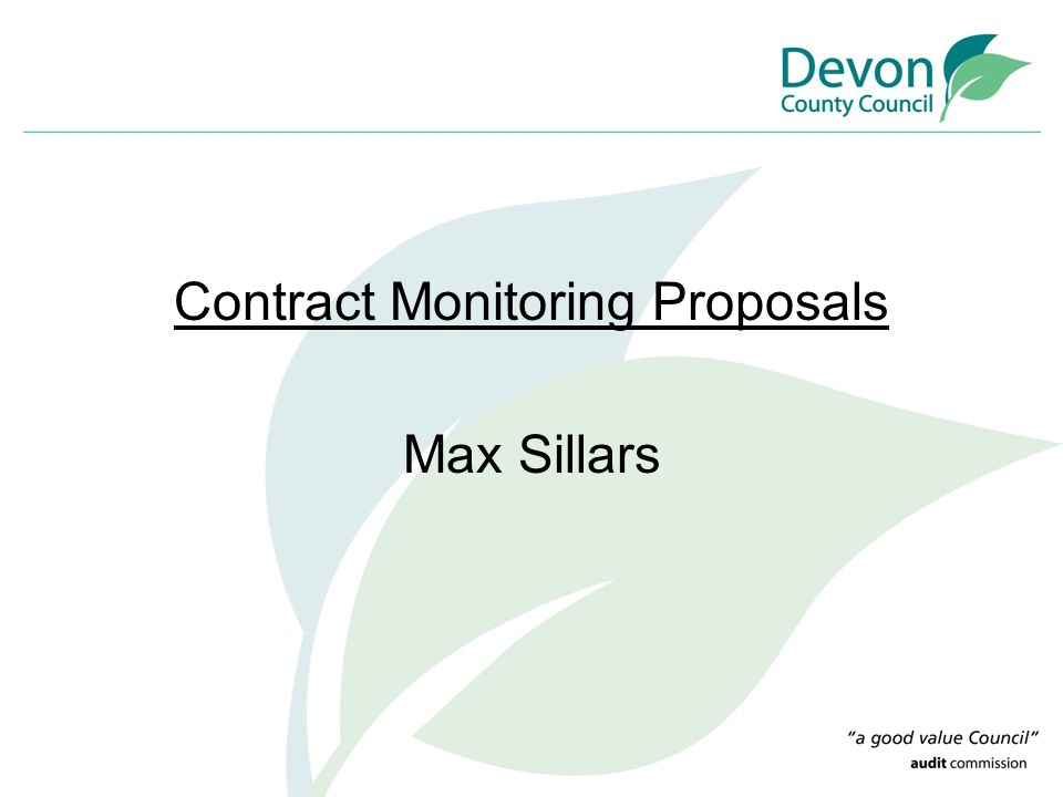 Contract Monitoring Proposals Max Sillars