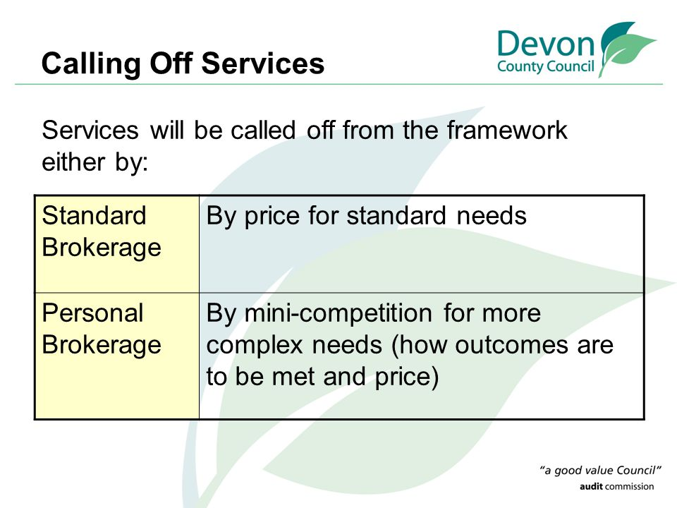 Calling Off Services Standard Brokerage By price for standard needs Personal Brokerage By mini-competition for more complex needs (how outcomes are to be met and price) Services will be called off from the framework either by: