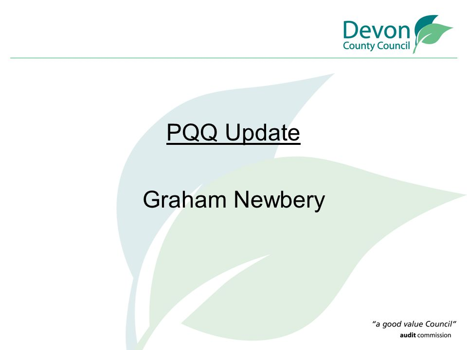 PQQ Update Graham Newbery