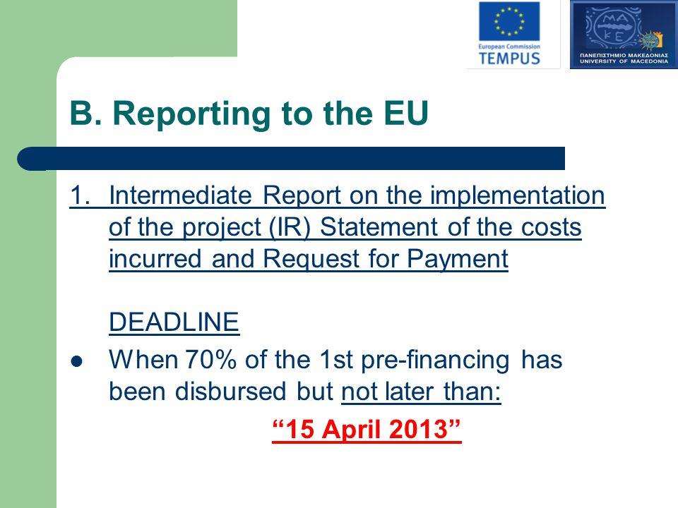 B. Reporting to the EU 1.