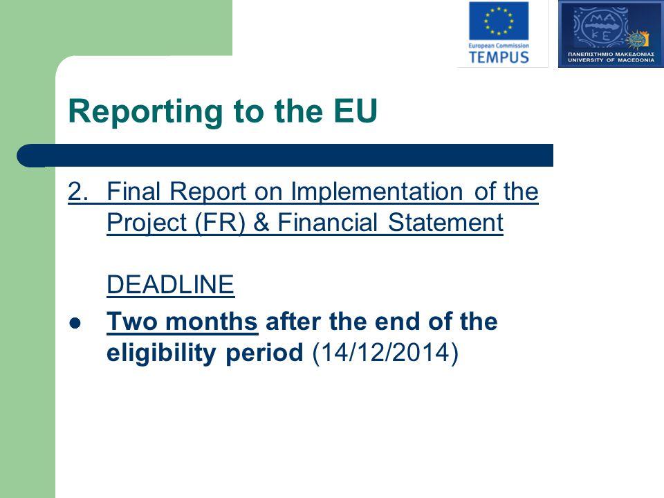 Reporting to the EU 2.