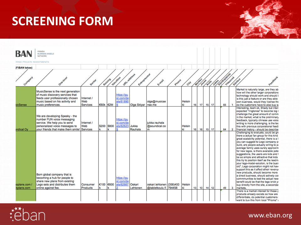 SCREENING FORM