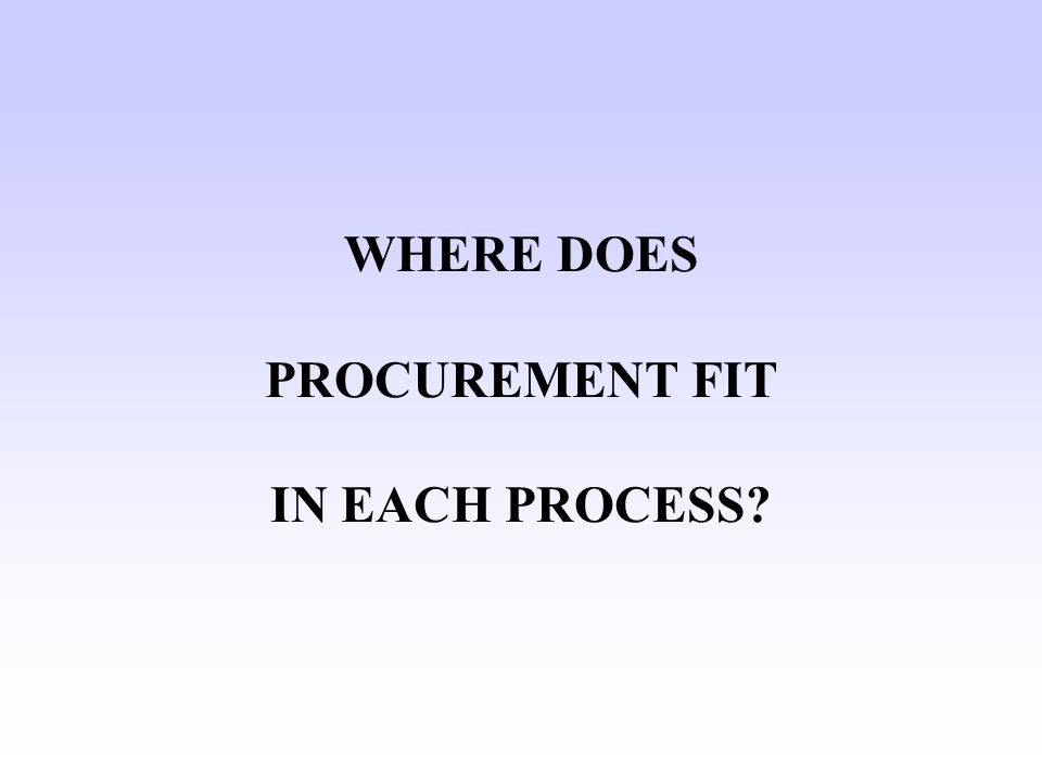 WHERE DOES PROCUREMENT FIT IN EACH PROCESS?