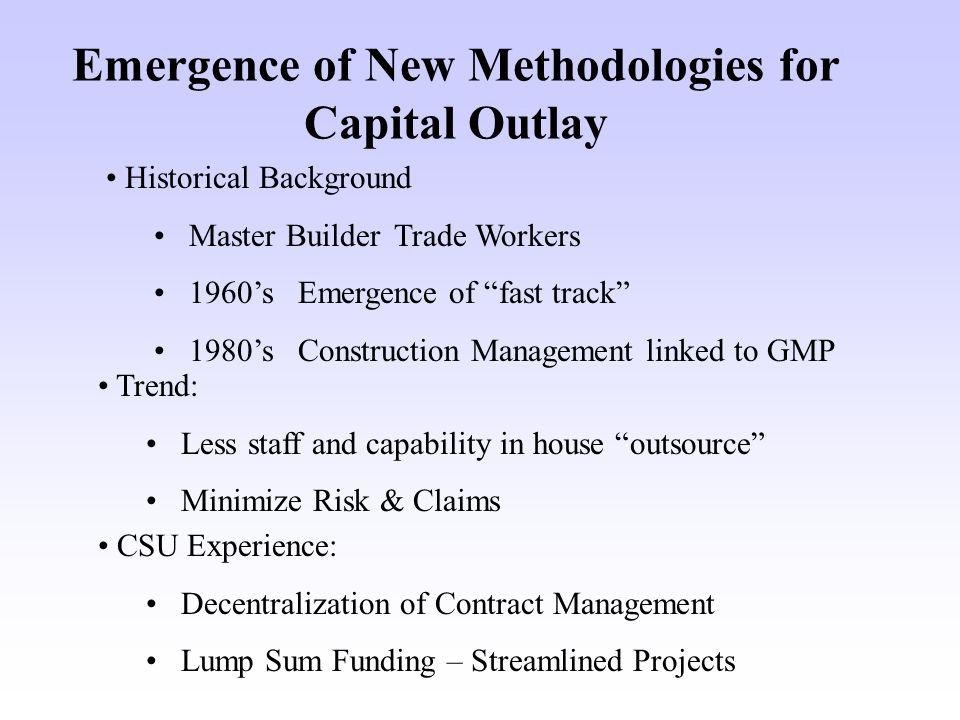 Methodologies Available: Design-Bid-Build (Low Bid) Design-Build Pure Design-Build Bridging Design-Build Performance Design Build Construction Manager at Risk with Guaranteed Maximum Price (CM at Risk) CM/GC Multiple Prime
