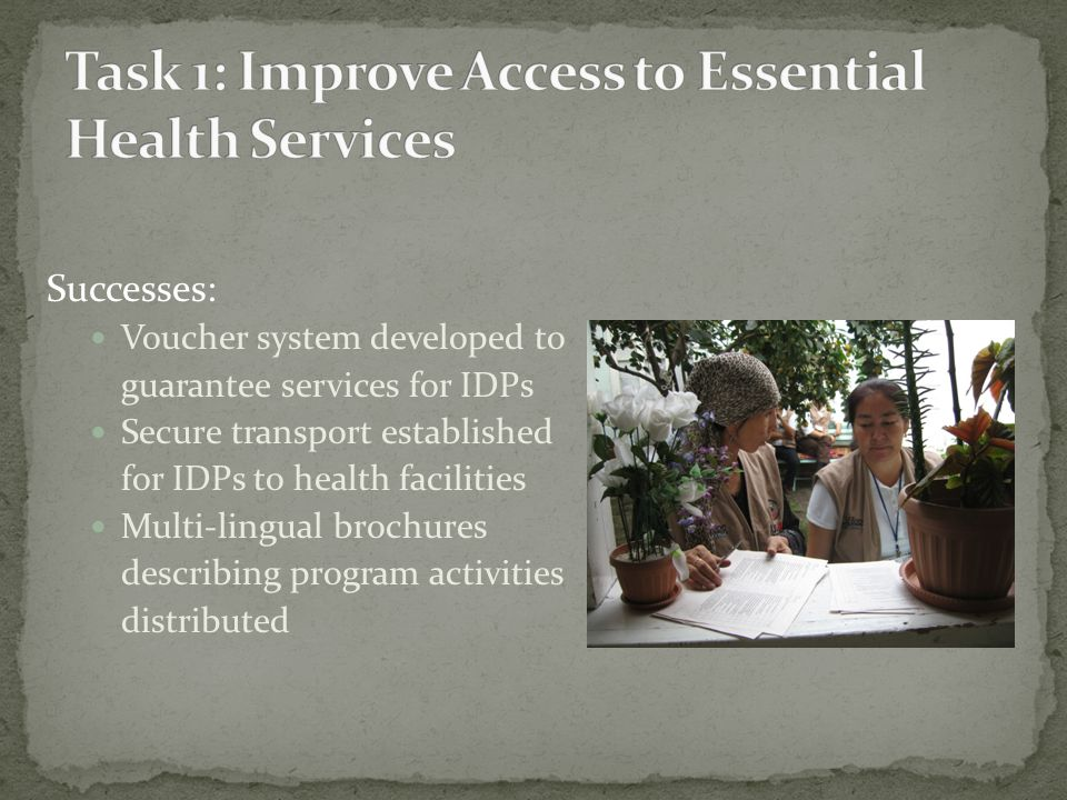 Successes: Voucher system developed to guarantee services for IDPs Secure transport established for IDPs to health facilities Multi-lingual brochures describing program activities distributed