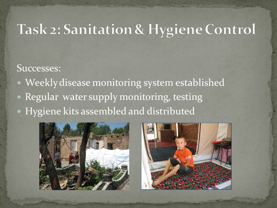 Successes: Weekly disease monitoring system established Regular water supply monitoring, testing Hygiene kits assembled and distributed