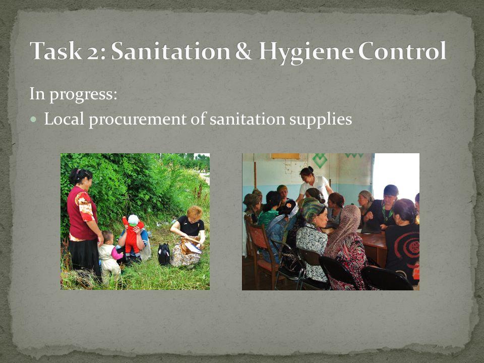 In progress: Local procurement of sanitation supplies